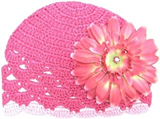 Raspberry Scalloped Crochet Hat with Candy Pink Daisy, Size: 0-6m