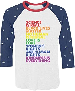 Tstars Science is Real Black Lives Matter Love is Love 3/4 Sleeve Baseball Jersey Shirt