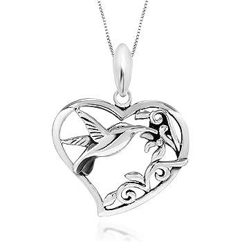 "925 Sterling Silver Filigree Flower Hummingbird Heart Pendant Necklace, 18"""