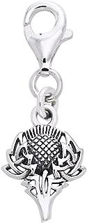 Scottish Spirit of Alba Thistle Celtic Knot Art Sterling Silver Clip-On Charm