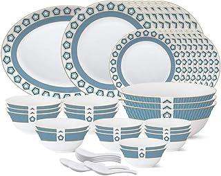 Larah by Borosil - Tiara Series, Crystal, 44 Pcs, Opalware Dinner Set, White