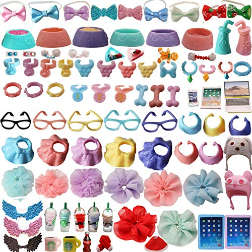 XXRS LPS Accessories Lot (Random 10 PCS) LPS Clothes Bow Skirts LPS Laptop Glasses Collars Food Drink Wings Earring Outfit for LPS Shorthair Cat Collie Great Dane Cocker Spaniel Husky Dog