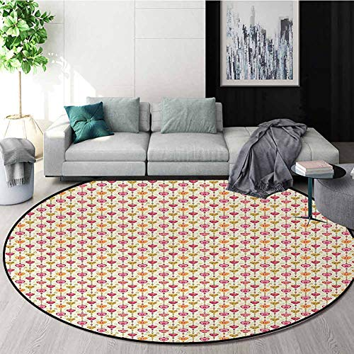 Review Hearts Non-Slip Area Rug Pad Round,Romantic Symbols Of Love With Dots And Stripes Valentines ...