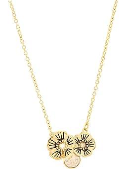 코치 목걸이 COACH Tea Rose Cluster Pendant Necklace,Golden Shadow