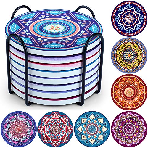 Evobak Coasters for Drinks, Thirstystone Coasters for Tabletop Protection, Ceramic Bar Coasters with Holder, Modern Decoration for Home House Warming Presents (8pcs/Set)