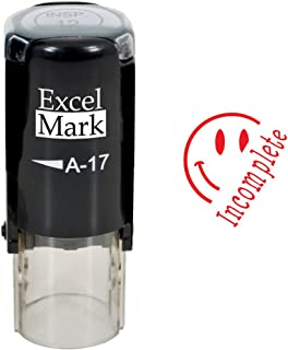 Incomplete - ExcelMark Self-Inking Round Teacher Stamp - Red Ink