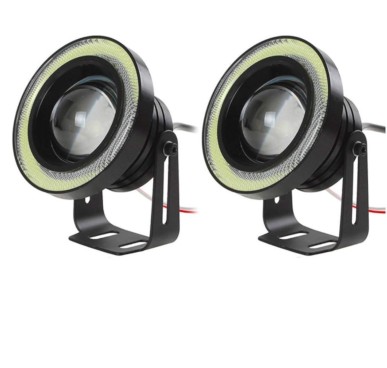 Car Cob Angel Eye Fog Light 30W Fog Light Bull Eye Fog Light Refit Fisheye Lens Fog Light 3.2in,