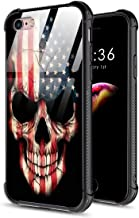 DAHAOGUO iPhone 6s Case,iPhone 6 Case,9H Tempered Glass Back Cover Pattern Design + TPU Shock Absorption Bumper Protective Case Compatible for iPhone 6/6s American Flag Skull