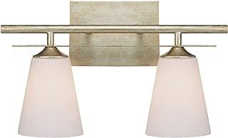 Capital Lighting 1737WG-122 Soho 2-Light Vanity Fixture, Winter Gold with Soft White Glass
