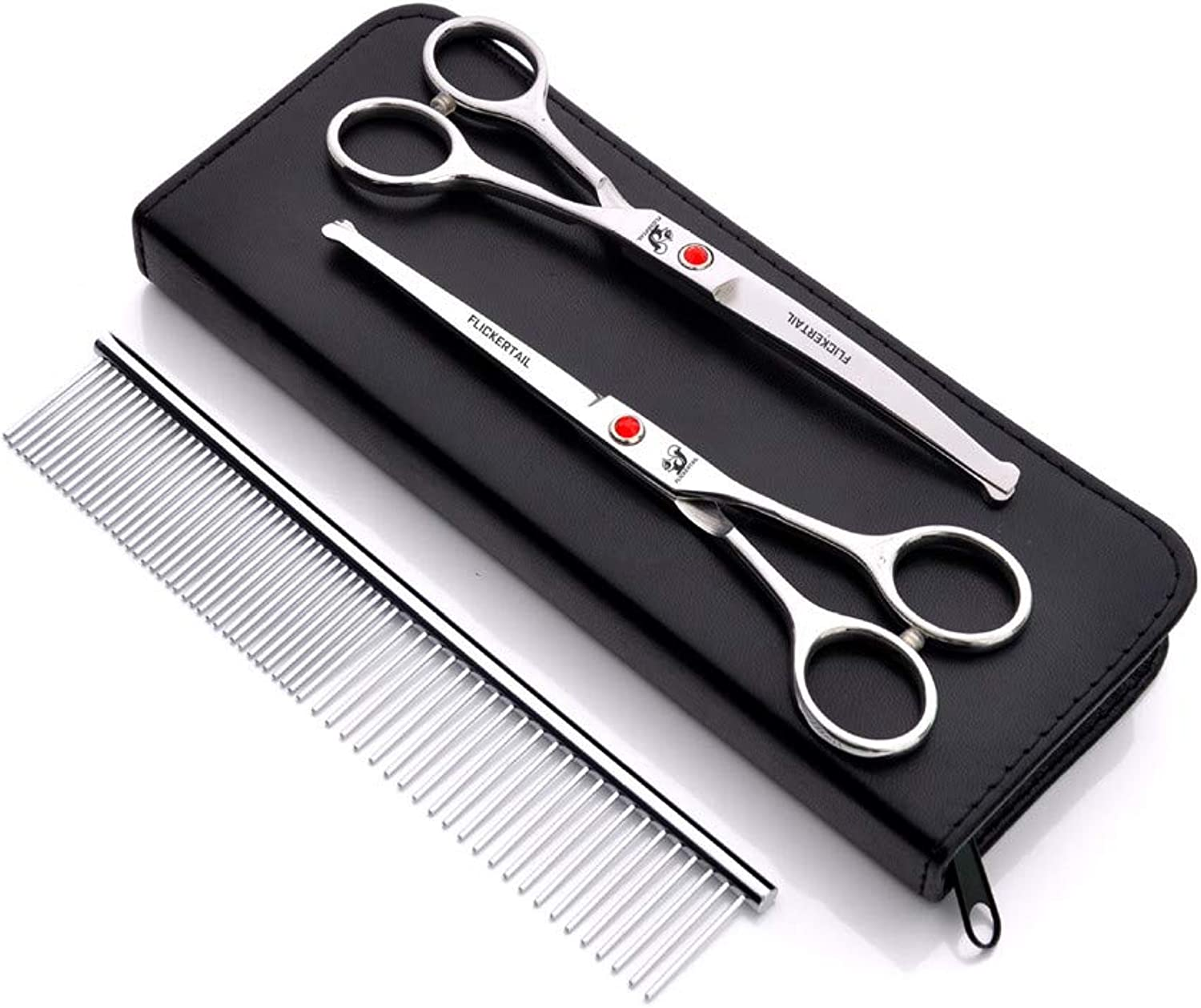 Dog Grooming Scissors Kit Rounded Tip Round Head Safety Curved Sharp Shears for Small or Large Dogs, Cats or Other Pets
