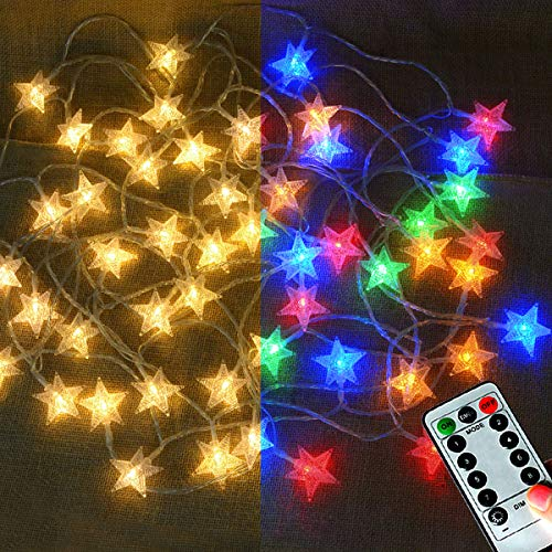 Abkshine 25Ft 50LEDs Battery Powered Star Fairy Lights, 8 Modes Warm White Color Changing LED Star String Lights for Wedding, Christmas, Birthday, Halloween, Mother Day