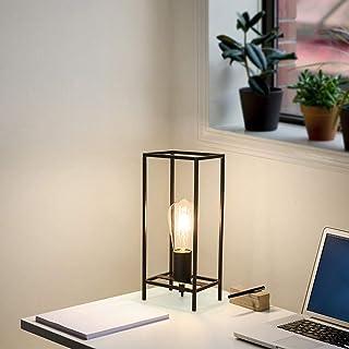 Lámpara de mesa vintage, negro, retro industrial, hierro, metal, alambre, cesta, jaula, estilo diamante, sombra, luz de escritorio para mesita de noche, sala de estar, cafetería, restaurante