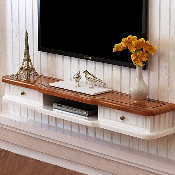 MLMHLMR TV Rack Cabinet Cabinet Media Entertainment Floating Console Game Shelf Unit With 2 Drawer Furniture Wall Mounted Shelf Color White Brown Size 140cm