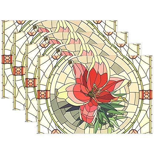 sunnee-shop Vintage marmer keramische tegels medaillon bloem wasbaar tafelset voor keukentafel hittebestendig antislip keuken placemats set van 6