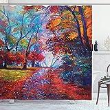 JOOCAR Design-Duschvorhang, bunt, Feen-Motiv im Herbst Blick auf die Erde im Ölgemälde-Stil, wasserdichter Stoff, Badezimmer-Dekor-Set mit Haken