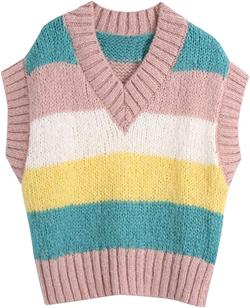 Women Sweet Striped Loose Knitted Vest Sweater Vintage V Neck Sleeveless Waistcoat Chic Tops