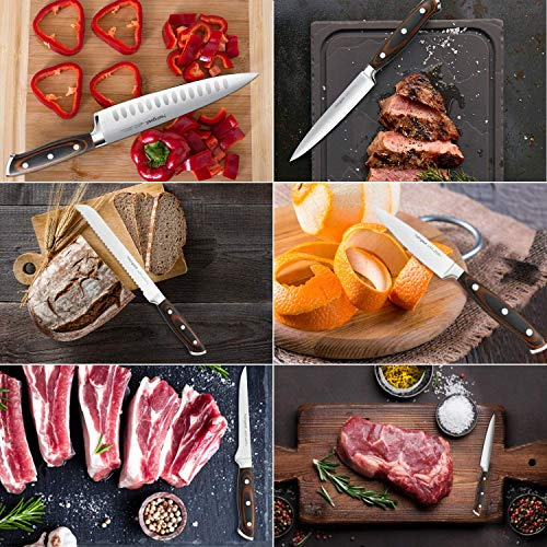 Kitchen Knife Set 7 Pieces with Oak Wooden Block and Ergonomic Pakkawood Handle, homgeek High Carbon 1.4116 Stainless Steel Professional Sharp Chef Knife Block Set Forged, Full-Tang Design