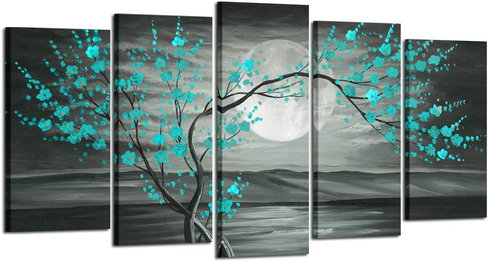 Kreative Arts Max 78% OFF Large 5pcs Canvas Wall Grey Art Popular shop is the lowest price challenge Plum Teal Prints B