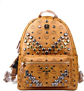 mcm large studded backpack
