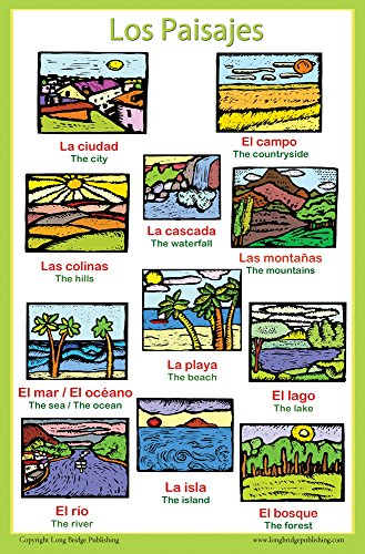 Spanish Language School Poster - Words About Places/Landscapes - Wall Chart for Home and Classroom - Bilingual: Spanish and English Text