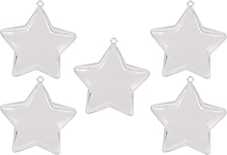 Juvale Star Shaped Fillable Christmas Ornaments - 20-Pack Bath Bomb Molds, Xmas Ornaments, Bath Bomb Ornaments, Hollow Ornaments, for Holiday, Wedding Party Decoration, Clear, 3 x 3 x 1.2 Inches