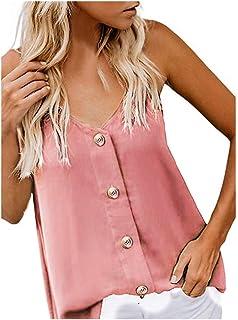 Camisetas sin Mangas de Verano para Mujer Camisas Mujer Fiesta Cuello en V botón Tirantes Camiseta de Tirantes Mujer Camis...