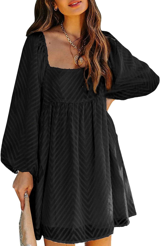 Paitluc Textured Print Midi Dress Puff Sleeve Dress for Women Elegant Square Neckline Dress