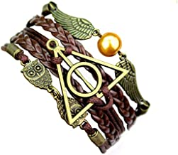 Most Beloved Mens/Womens Geometric OWL Pearl Leather Multilayer Braided Bracelets