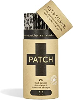 PATCH Organic Bamboo Adhesive Strip Bandages with Activated Charcoal, Black, 25 Count