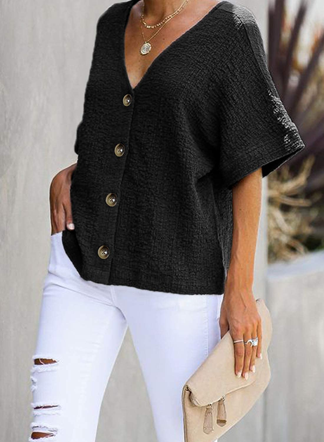BLENCOT Women's Button Down Short Sleeve V Neck Back Shirts Casual Loose Blouse Tops