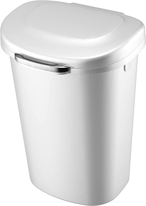 Rubbermaid Touch Top Lid Trash Can For Home Kitchen And Bathroom Garbage 13 Gallon White
