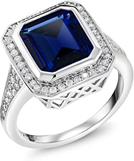 925 Sterling Silver Simulated Sapphire Women's Ring (5.00 Cttw, Emerald Cut, Available 5,6,7,8,9)