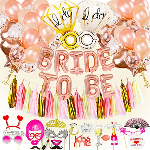 96pcs Hen Party Decorations Accessories - BRIDE TO BE Banner Hen Party Balloons Hen Do Decorations Bachelorette Bridal Shower Party Rose Gold Party Decorations With Hen Party Photo Booth Props