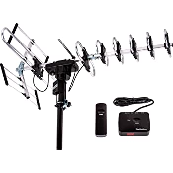 Five Star [Newest 2020] Outdoor Digital Amplified HDTV Antenna - up to 200 Mile Long Range, Directional 360 Degree Rotation by Remote Control, Intelligent Gain for HD 4K 1080P FM Radio Support 2 TVs