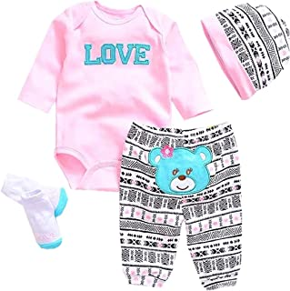 "Pedolltree Reborn Baby Dolls Clothes Pink Outfits for 20""- 22"" Reborn Doll Girl Baby Clothing Baby Sets"