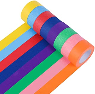 Colored Masking Tape, 1 Inch × 15M Rainbow Labelling Tape Graphic Art Tape Roll for Art Crafts DIY Supplies, 8 Colors