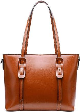 HESHE Women's Leather Shoulder Handbags Top Handle Bag Cross Body Bags Designer Purse Satchel for Office (L)13.26 x (H)10.53 x (W)4.68in Brown