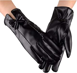 WUXiaodanDan Women's Bow Gloves Plus Velvet Warm Gloves Driving Riding Gloves Touch Screen Gloves Windproof Gloves
