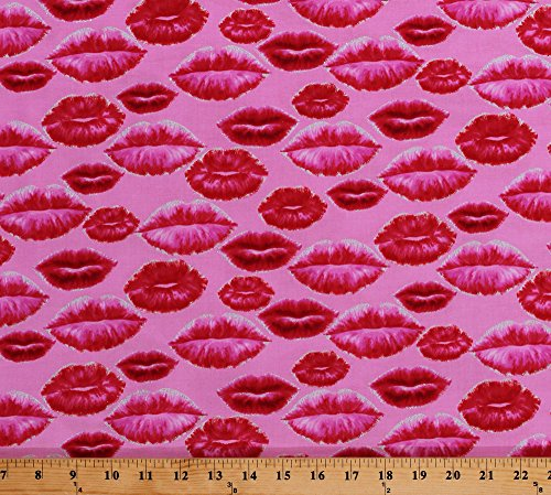 Field's Fabrics Cotton Lips Lipstick Kisses Silver Glitter Shimmer Valentine's Day Love is All Around Pink Cotton Fabric Print by the Yard (4906G-22)