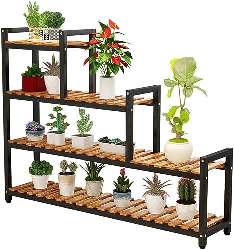 GZYQYIHJB Mehrlagiger Pflanzenrahmen Innenbuchtfensterbalkonschmiedeeisentopflagergestell Massivholz Einfacher Dekorativer Rahmen