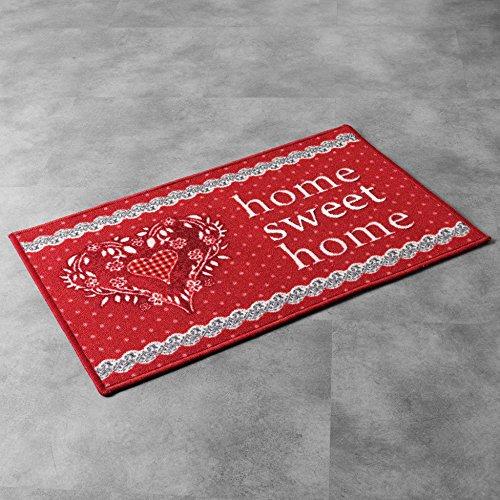 tapis déco tapis rectangle 40x60 cm home love rouge