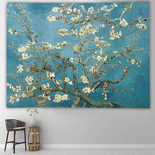 Traditiona - Tapiz de pintura china, diseño de ciruela, decoración de pared, tela de poliéster para colgar en la pared para sala de estar dormitorio