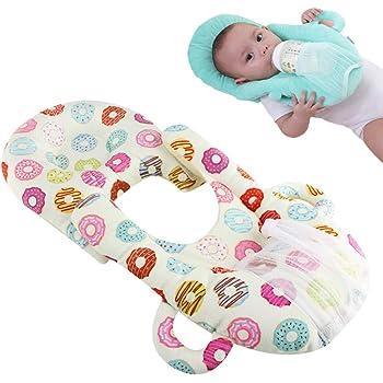 Yiteng ベビー枕 授乳クッション 哺乳瓶ホルダー 双子授乳クッション 育児グッズ 哺乳瓶支持 赤ちゃん授乳枕 赤ちゃん枕 双子 多胎 出産祝い 男女兼用 ドーナツ