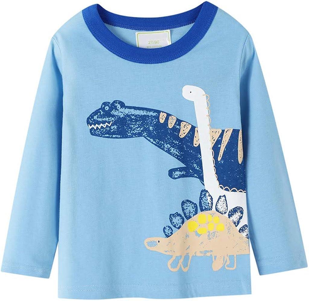 Boy Shirt Tops, Fall Winter Boys Clothes, Cool Cartoon Animal Dinosaur Printed Long Sleeve, for 1-7 Years Boy
