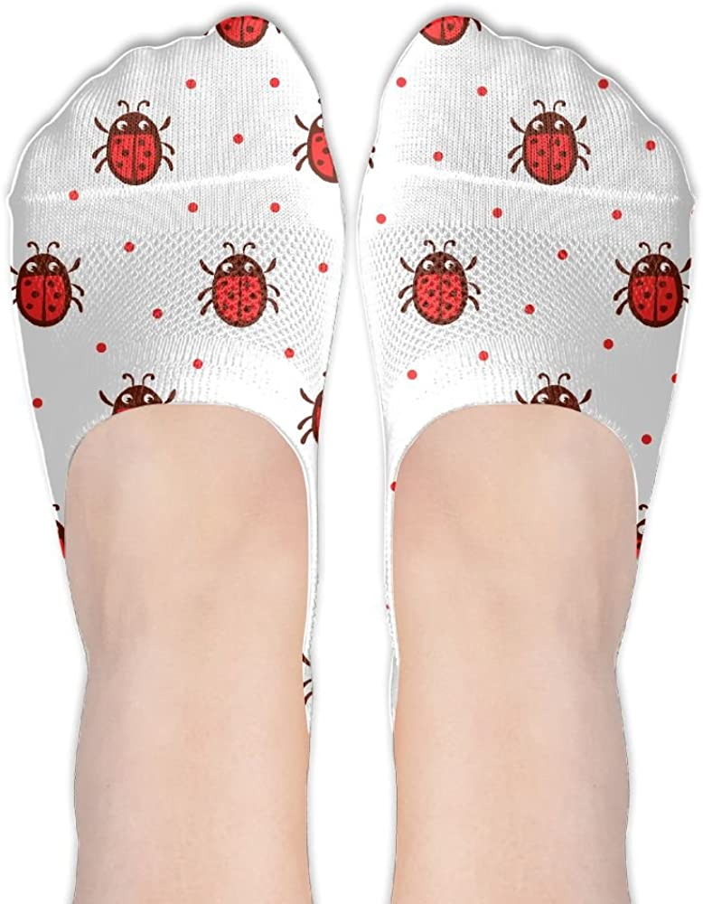 Cute Ladybug Pattern Female Polyester Cotton Socks Women Boat Socks Low Cut Socks Thin Casual Socks