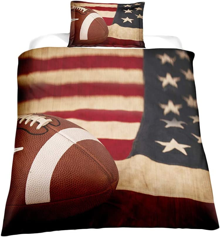 ADASMILE A Max 74% OFF S 3D Boys Sports American Bed Sale item Flag Bedding Football
