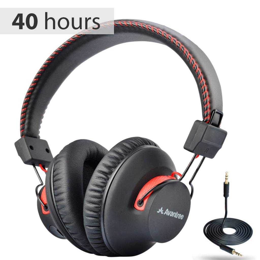 Amazon Com Avantree Audition 40 Hr Bluetooth Over Ear Headphones With Microphone For Pc Computer Phone Call Aptx Hifi Stereo Comfortable Wireless Headset With Mic For Home Office Conference Skype With Nfc
