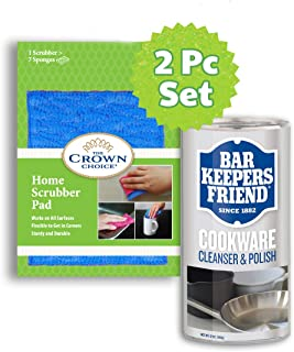 BKF Cooktop Cleanser Powder & Home Scubber Polishing Cookware Cleanser - 2PC set - shines stainless steel, ceramic, porcelain, aluminum and copper cookware