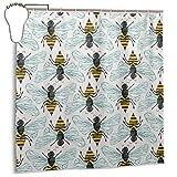 Yuanmeiju Honey Bee Duschvorhang Waterproof Polyester DuschvorhangResistant Anti Mould Bathroom Duschvorhang Hooks with 12pcs 180x180cm