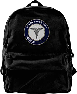 NJIASGFUI Rucksack aus Segeltuch, US-Marineblau, Krankenhaus, Korpsman, für Fitnessstudio, Wandern, Laptop, Schultertasche für Männer und Frauen